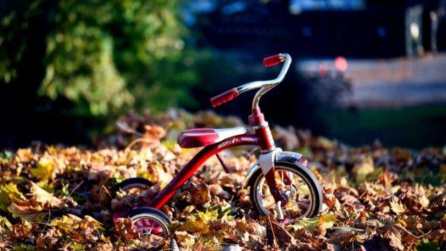 Kinder-driewiel-fiets in herfstbladeren
