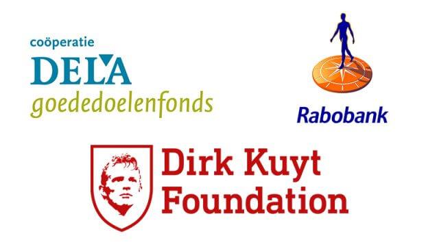 Logo's DELA, Dirk Kuyt Foundation en Rabobank