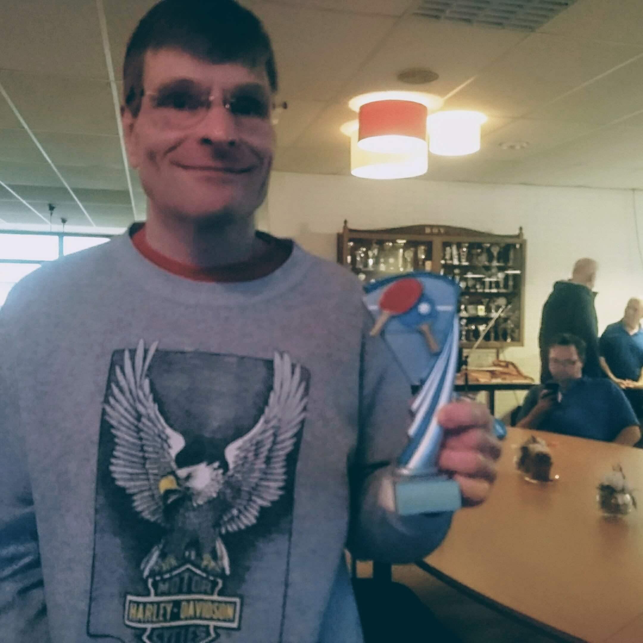 Hans met zijn 1e prijs in de hand